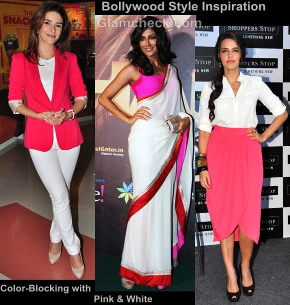 Bollywood style inspiration color-blocking pink-white