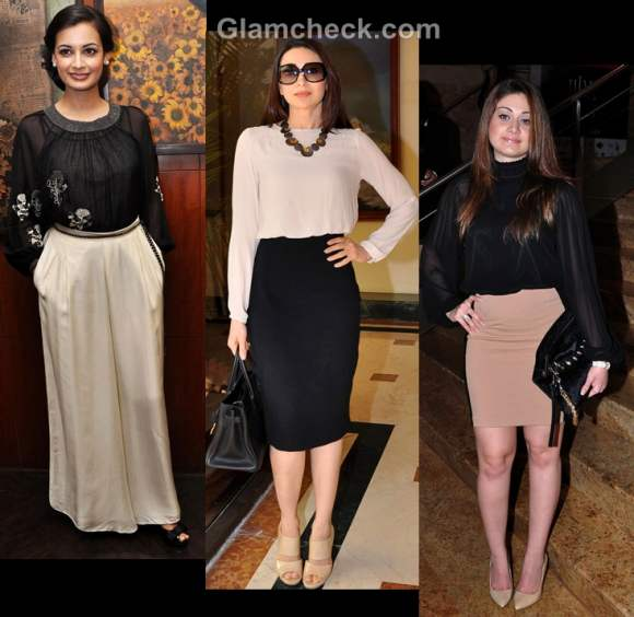 Bollywood style inspiration wearing beige and black celeb way