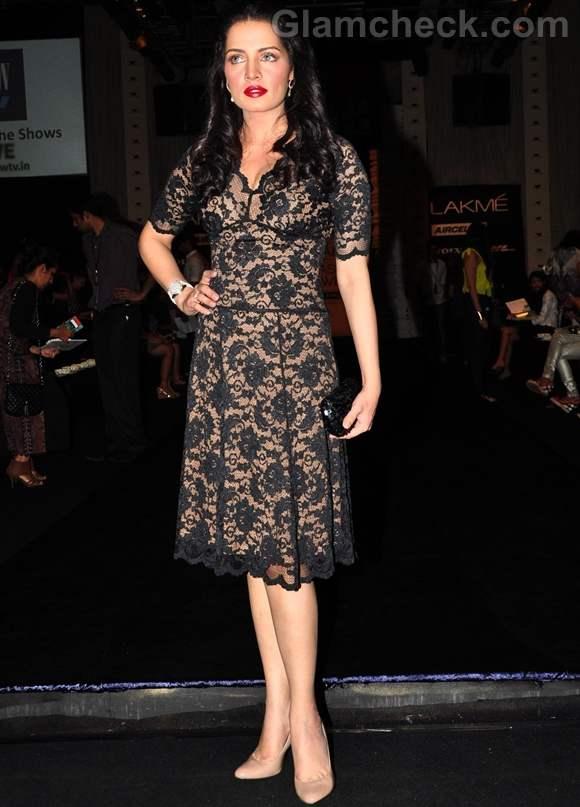 Celina Jaitley lacy black dress Lakme Fashion Week 2012