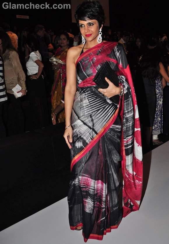 Mandira Bedi Rocks Abstract-theme Sari at IIJW