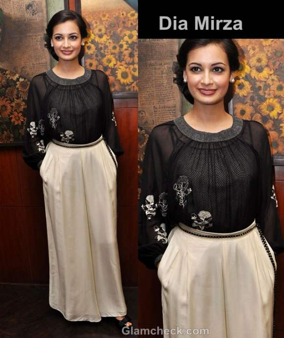 dia mirza style inspiration wearing beige black