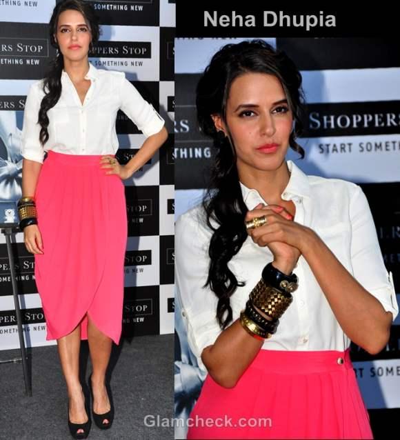 neha dhupia bollywood style inspiration color-blocking pink-white