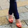 orange peep toe heels