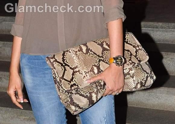 snake skin print clutch-Gayatri Oberoi