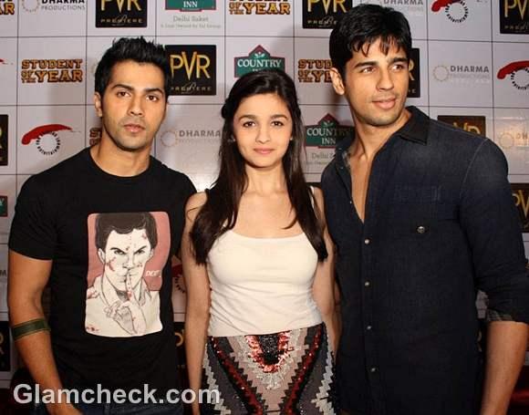 Alia Bhatt Promotes Student of The Year with co-stars Varun Siddharth