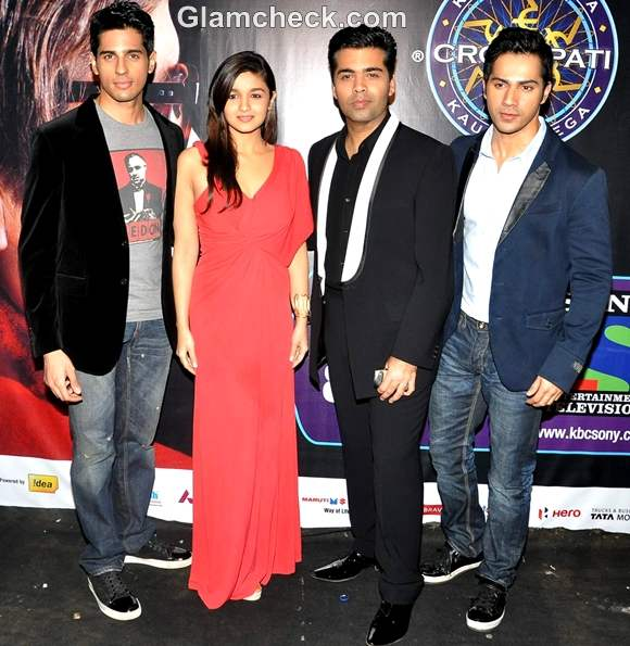 Alia Bhatt and Student of The Year Cast at KBC