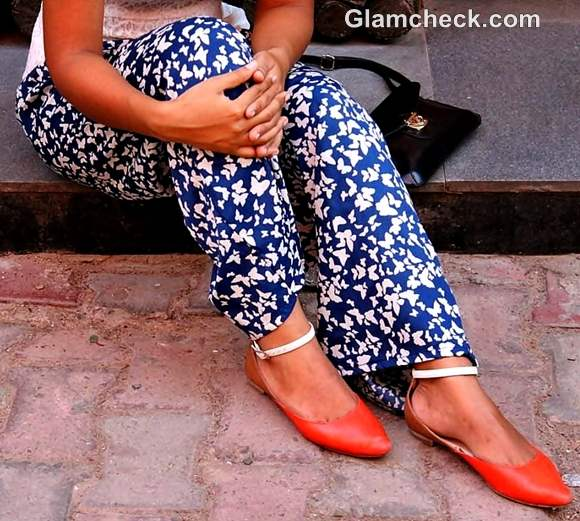 Look of the day tangerine shoes wide legged pants