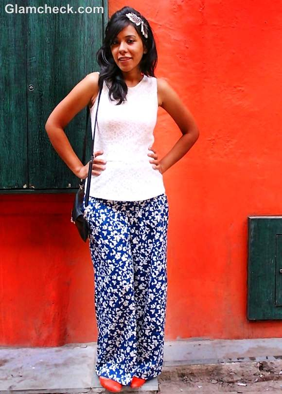 Look of the day wearing wide legged pants with peplum top