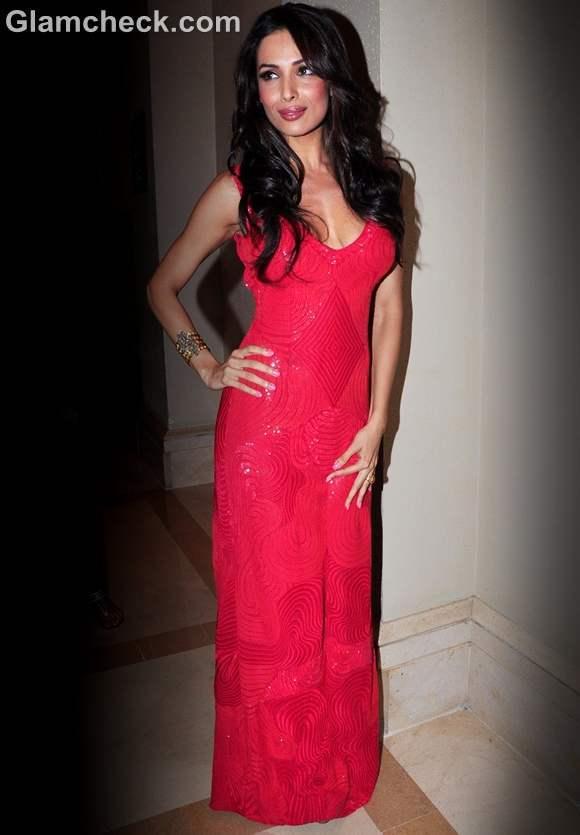 Malaika Arora Khan red gowm launch of Indias Got Talent season 4