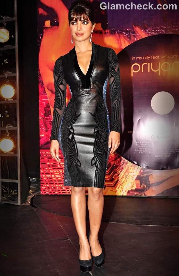 Priyanka Chopra black dress launch of debut music album In My City