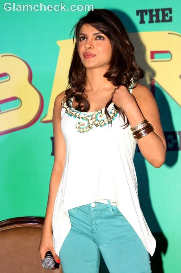 Priyanka Chopra  in green & White Promoting Barfi