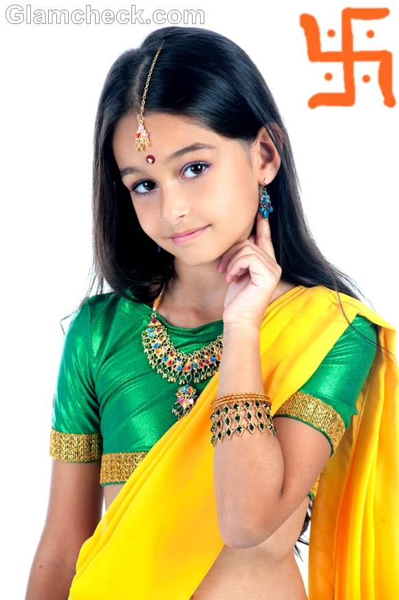 Traditional fashion for kids-saree indian festival ganesh chaturthi
