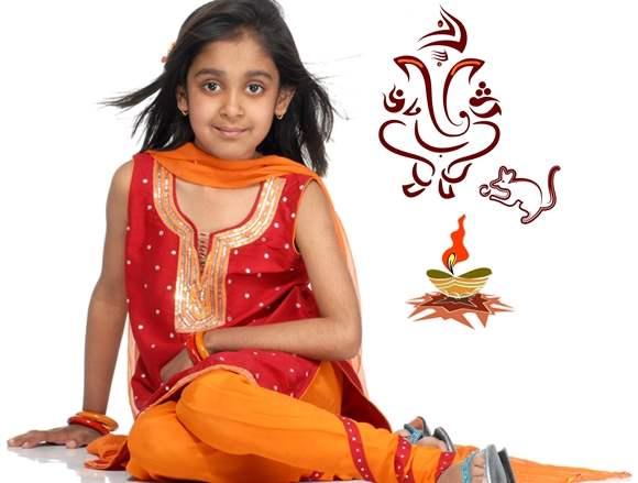 Traditional fashion kids-indian festival ganesh chaturthi