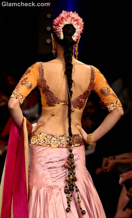 Traditional indian hairstyles flower gajra paranda