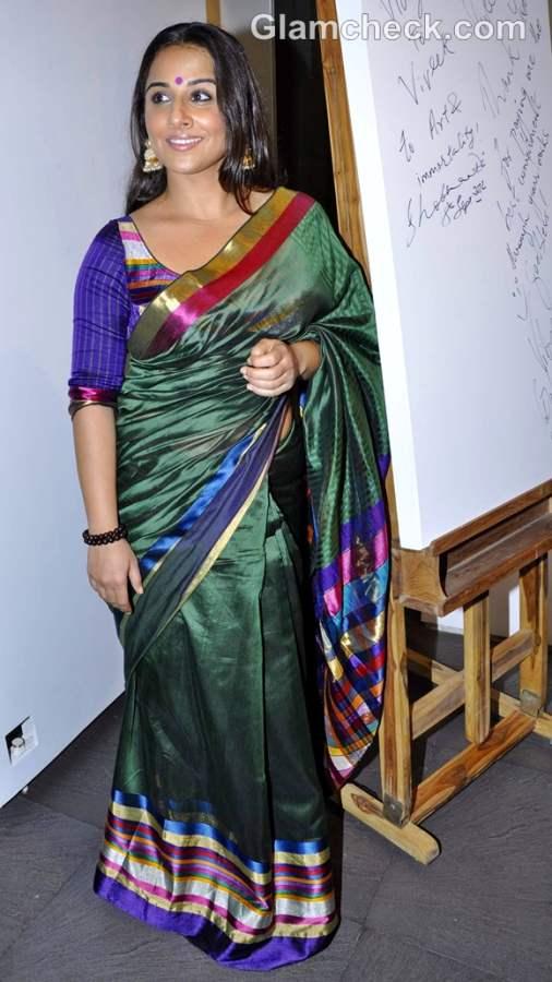 Vidya Balan green sari andy pop exhibition