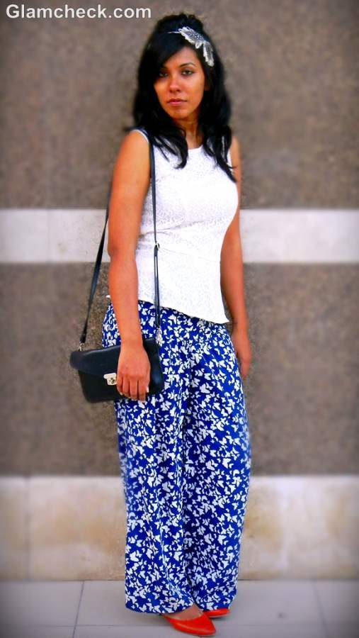 how to wear wide legged pants with peplum top