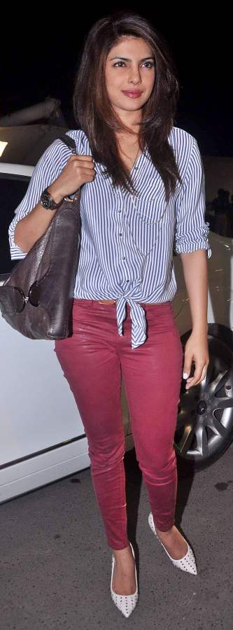 priyanka chopra wine burgandy colored denims 2013