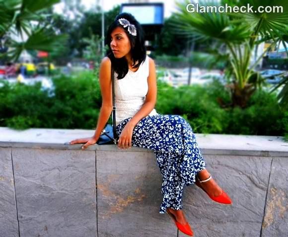 street chic look wide legged pants peplum top