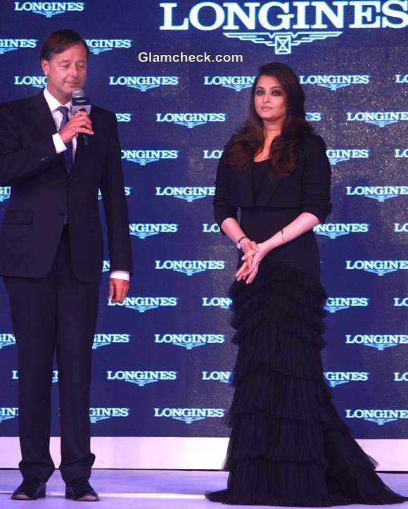 Aishwarya Rai Bachchan Black dress Unveiling of Longines New Saint Imier Collection