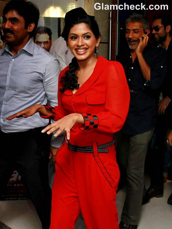 Anjali Patil in Red Jumpsuit at the Press Conference Chakravyuh