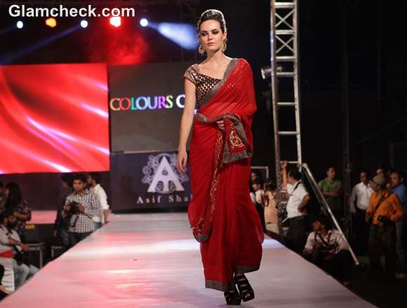 Asif Shah collection red sari 2012