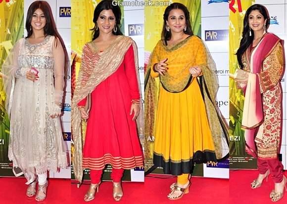 Bollywood Celebs Ethnic Wear Premiere English Vinglish