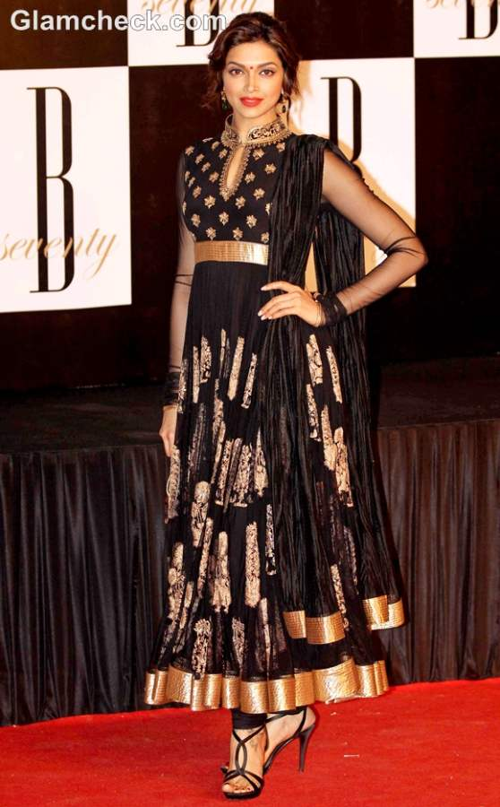 Deepika Padukone black gold anarkali suit at Amitabh 70th Bday Party
