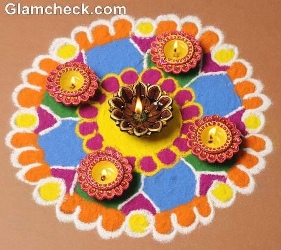 Diwali floral rangoli designs with diyas