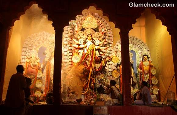 Durga Puja pandals podiums