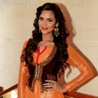 Esha Gupta Orange Red salwar kurta Chakravyuh Promotions