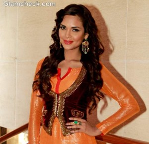 Esha Gupta Shimmers in Orange & Red at 'Chakravyuh' Promotions
