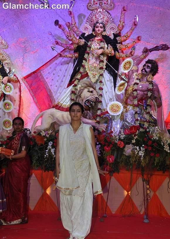 Kajol at Durga pooja event in Juhu Mumbai