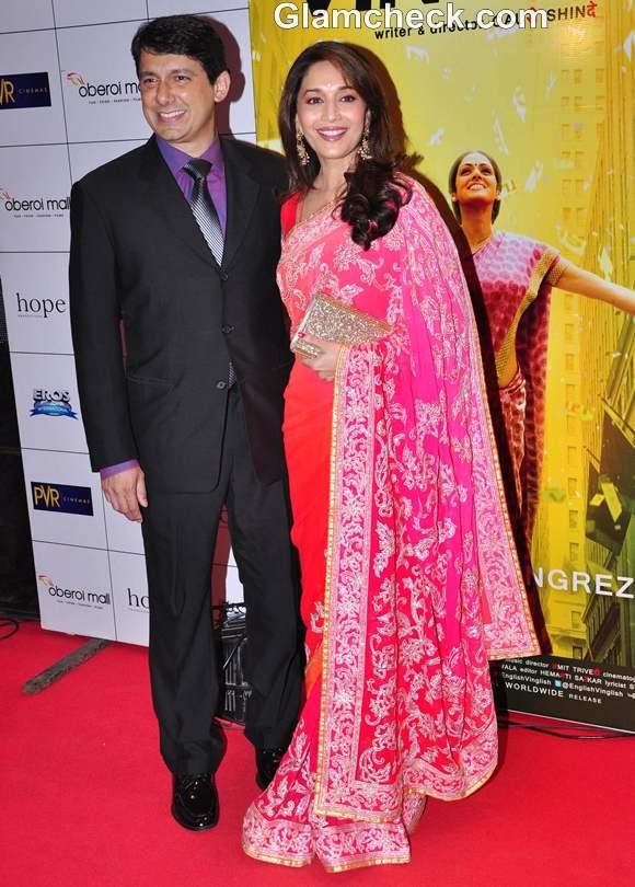 Madhuri Dixit pink orange saree premiere English Vinglish