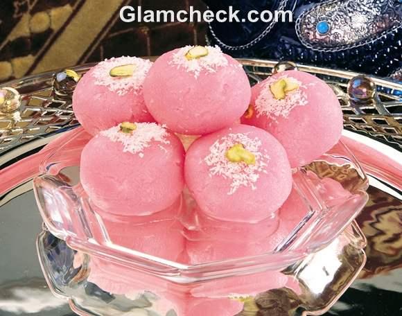 Rose Chum Chum served in glass dish diwali