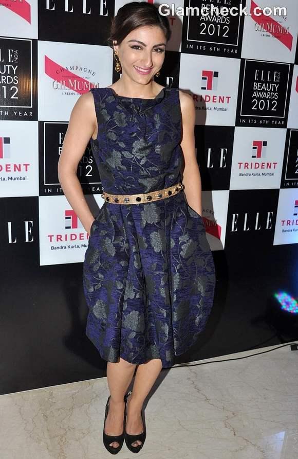 Soha Ali Khan Floral Dress at ELLE Beauty Awards 2012