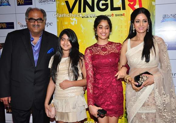 Sridevi with family at the Premiere of English Vinglish