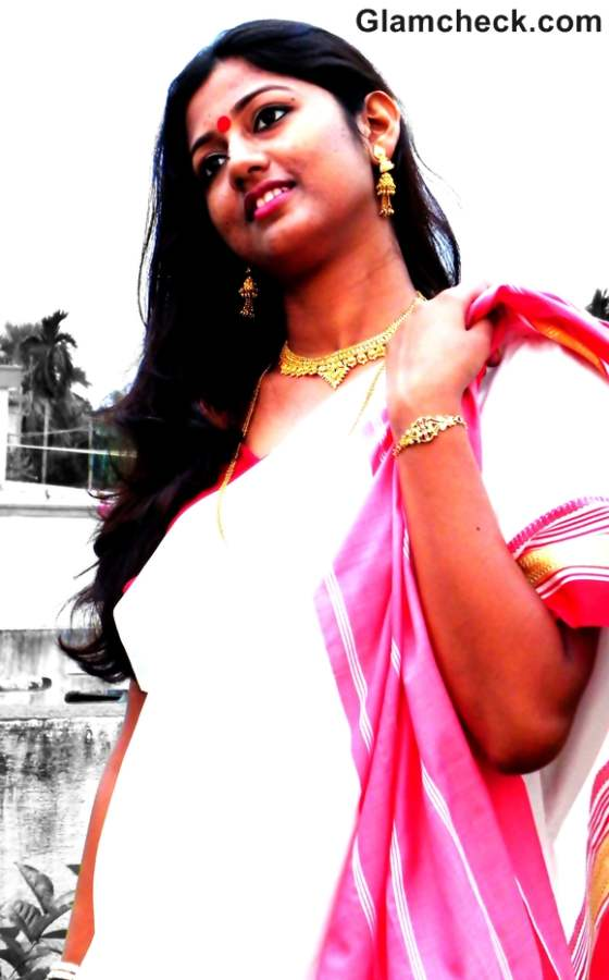 Traditional bengali look saree durga puja
