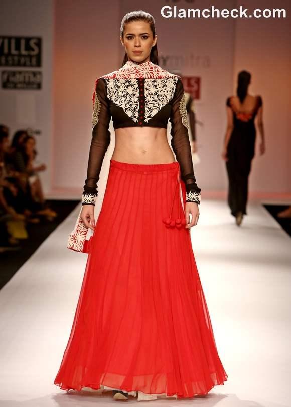 WIFW S-S 2013 Joy Mitra Collection lehnga red black