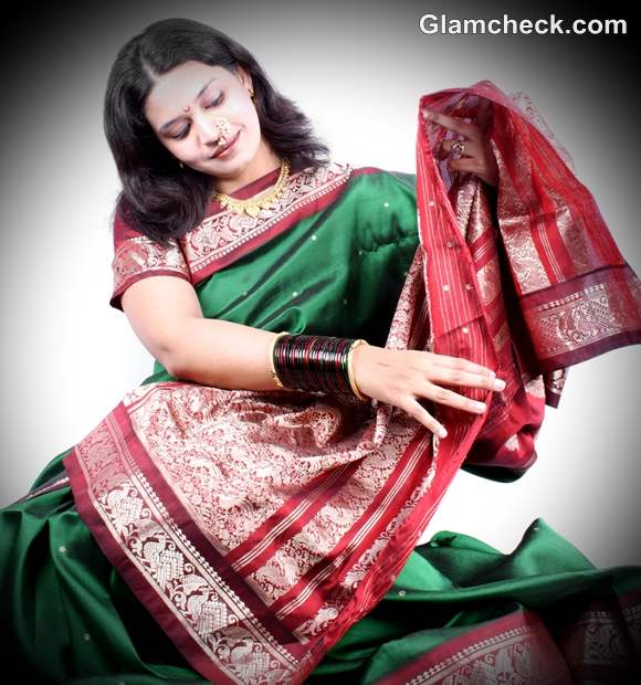 diwali dress up red green sari