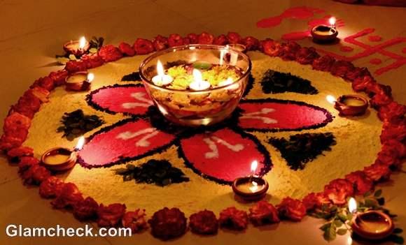 diwali rangoli designs flowers diyas