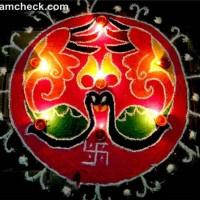 diwali rangoli designs peacock swastik