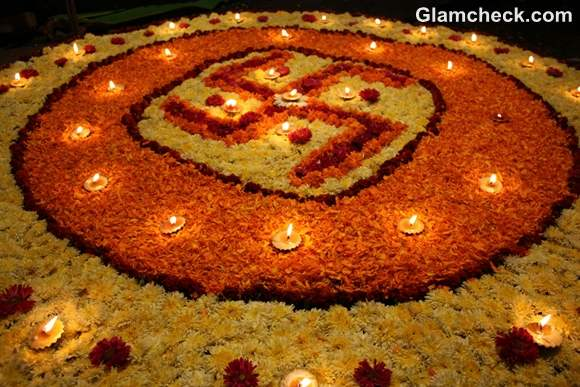 diwali rangoli designs with flowers petals  diyas