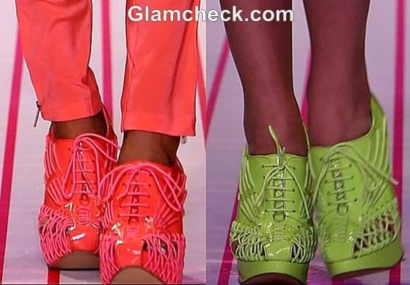 neon shoes WIFW S-S 2013 Gaurav Gupta Collection