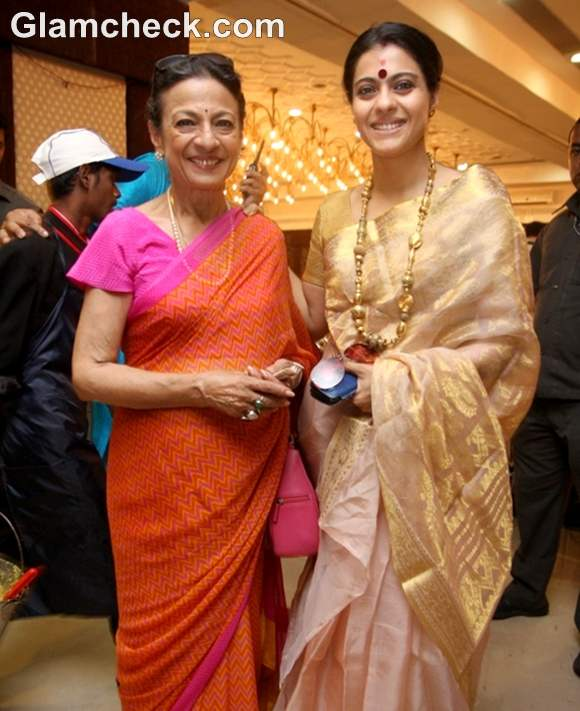 tanuja with kajol Durga Puja Celebration Mumbai