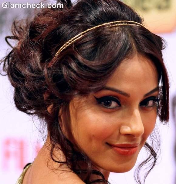 Bipasha Basu Grecian Hairstyle Dewy Makeup