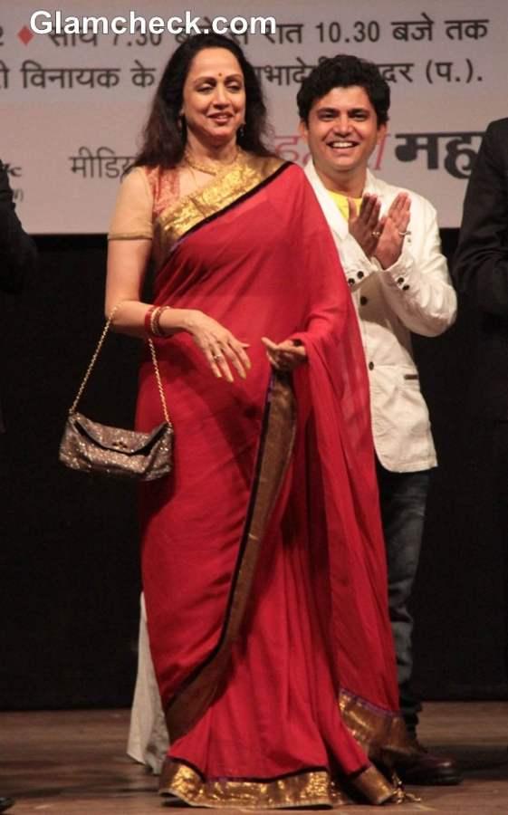 Hema Malini red sari at Ravindra Jain Sangeet Samman Award
