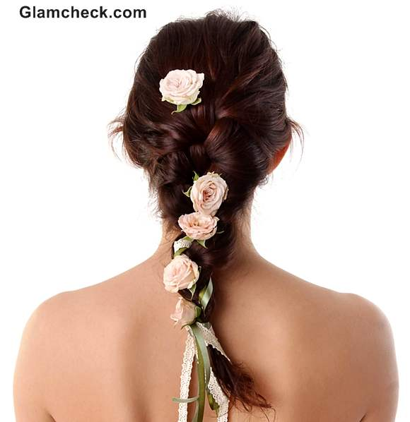 Indian hairstyles with fowers braids