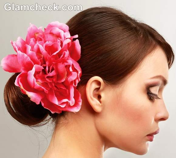 Indian hairstyles with fowers bun short hair