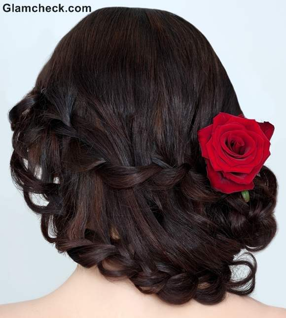 Indian hairstyles with fowers waterfall braid