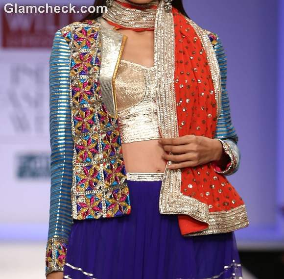 Indian style wearing Jacket with lehenga choli